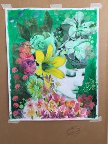 akrylfärg på papper / collageteknik 50x70 ( nu inramad med glas)