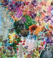 100x100 cm akrylfärg på duk/collageteknik