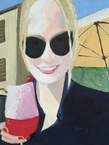 Flicka med rosa drink 2.500kr 50x70 cm