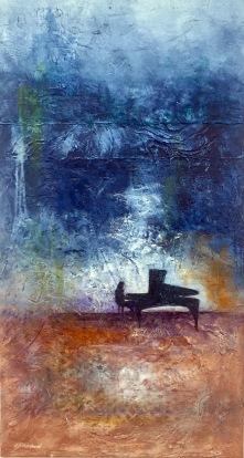Volume of Music, Mixed media, akryl och akvarell 50 cm x 80 cm