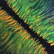Fluorescerande sprickan, 15x15 cm, kanvas fernissad, akryl, 500: -