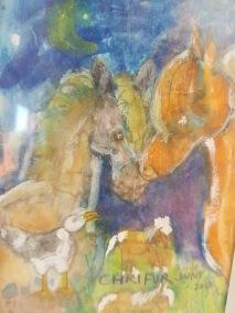 Akvarell 13 cm × 9cm på rispapper