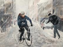 på cykel i snöoväder