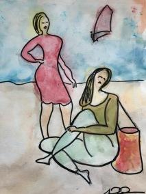 Två kvinnor på stranden liten
