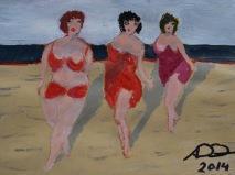 tre kvinnor på stranden