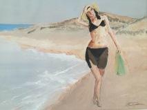 Flicka vid stranden liten