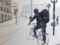 På cykel vid Tegelbacken 1.500kr  50x70 cm