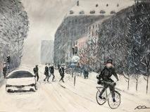 BirgerJarlsgatan i snöoväder 1.500kr  70X50
