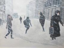 Nybrogatan i snöoväder 2.500kr 70X50 cm