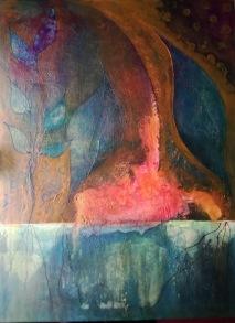 plastfolie och etanol - och strukturpasta. 60x80 cm på canvas.
