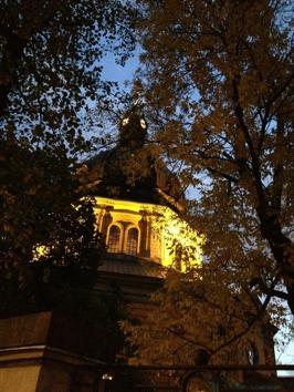 Hedvig Eleonora kyrka by sunset.