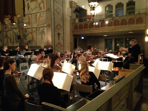 Conductor Sonny Jansson rehearsing with S:t Matteus Symfoniorkester