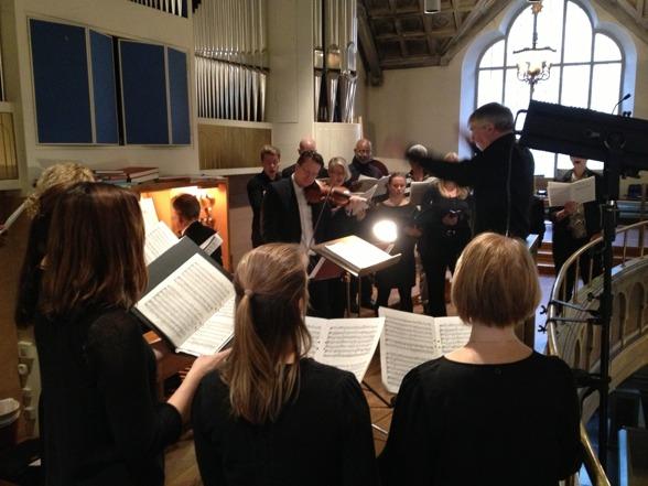 Tobias Ringborg, Erik Wadman, Sonny Jansson and Stockholms Poulenc-ensemble during rehearsal