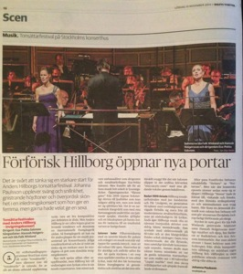 Review from Dagens Nyheter by Johanna Paulsson. She gives the opening concert the highest score, but would have loved to give even higher if possible!