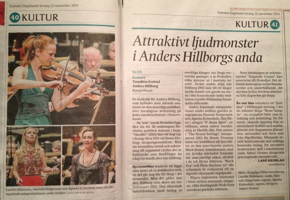 The review of the Festival final concert. By Lars Hedblad, Svenska Dagbladet, 22th of November 2014.