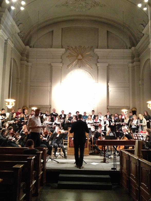During dress rehearsal at Adolf Fredriks kyrka, Stockholm. Christoffer Holgersson conducting and Carl Ackerfeldt singing.