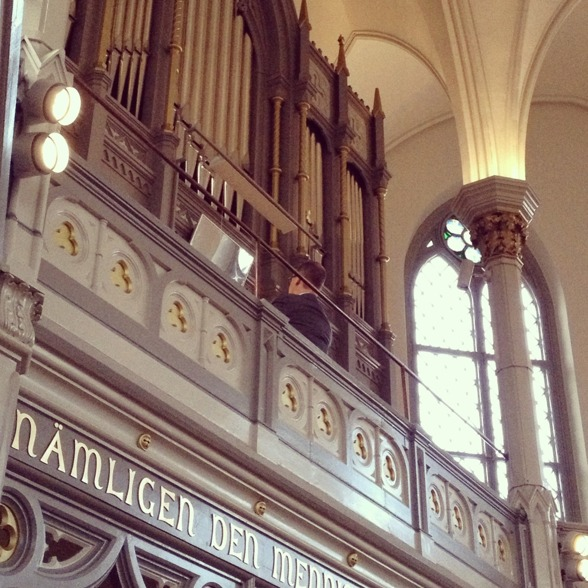 Johan Hammarström playing the organ.