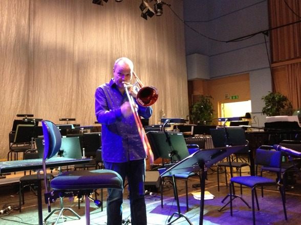 Nils Landgren during rehearsal yesterday.