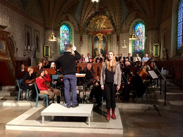 Conductor Jonas Marmbrandt, Hannah Holgersson and baroque ensemble during dress rehearsal.