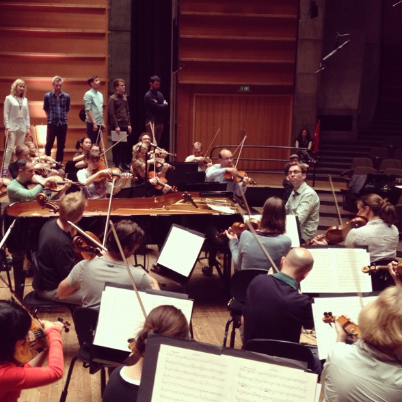 "Leif Ove Andsnes, the Mahler Chamber Orchestra and the Norwegian Soloists' Choir during rehearsal of the ""Choral Fantasty""."