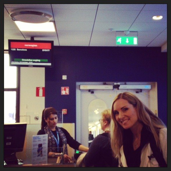 Hannah Holgersson at Arlanda airport. Boarding time!