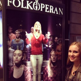 Hannah Holgersson by the banner of St Matthew Passion at Folkoperan