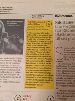 Review by Martin Nyström in Dagens Nyheter, November 25th.