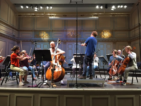 Rehearsal at Musikaliska; Musica Vitae, Malin Broman, Simon Crawford Phillips and soloist Rick Stotijn