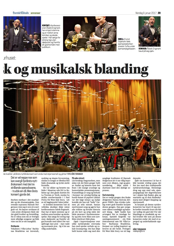 Review of the New Year Concerts in Harstad Kulturhus. Harstad Tidende, Norge, Kåre Torvanger