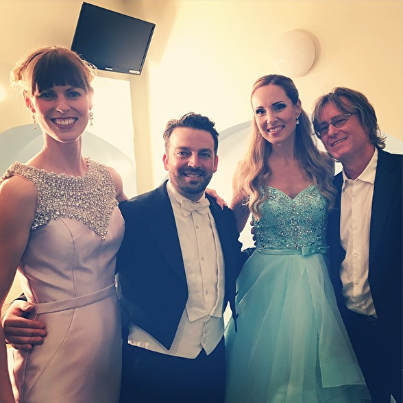 Ida Falk Winland, James Gaffigan, Hannah Holgersson and Anders Hillborg after performing Sirens during the Proms 2017
