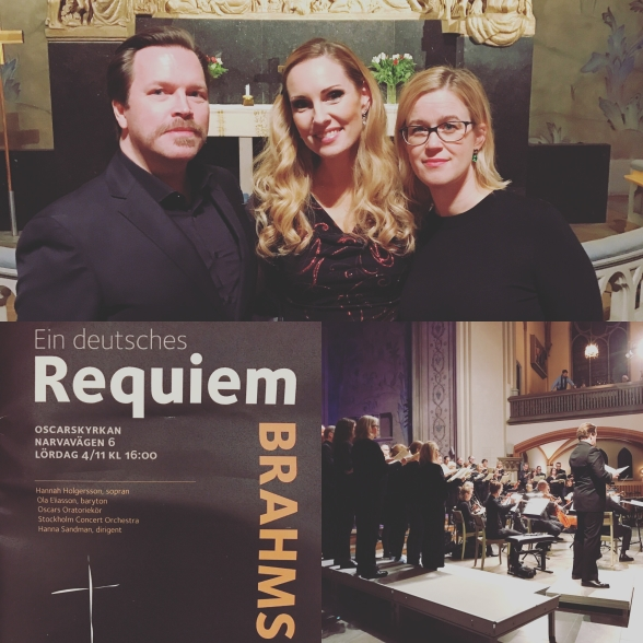 Ein deusches Requiem by Brahms in Oscarskyrkan, Stockholm. Ola Eliasson, Hannah Holgersson and Hanna Sandman.