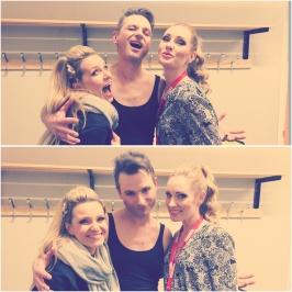 Jenna Lee-James, Ola Salo and Hannah Holgersson having fun after show at Vida Arena, Växjö.