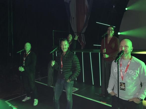 Mikael Henkelman, Håkan Glänte, Anneli Axelsson, Karin Bengmark and Dan Rosengren during soundcheck at Malmö Arena