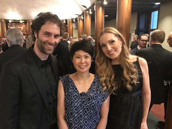 Thomas Volle, Mika Takehara and Hannah Holgersson after the concert at Grünewaldsalen, the Stockholm Concert Hall.