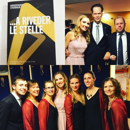 After performing with the Eric Ericson Chamber Choir and conductor Patrik Ringborg. Co-soloist was fantastic Andreas E Olsson. Some of the choir members from the left: Elias Aaron Johansson, Charlotta Hedberg, Eva Berglund, (Hannah Holgersson), Elin Skorup, Anna Graca, Boel Adler.