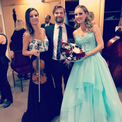 Claudia Bonfiglioli, Johannes Rostamo and Hannah Holgersson backstage at the Stockholm Concert Hall.
