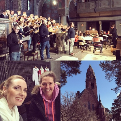 Rehearsal of St John Passion at Uppenbarelsekyrkan, Saltsjöbaden. Soloists are from the top and left: Johan Christensson, Jakob Högström, Erik Arnelöf, Hannah Holgersson and Ivonne Fuchs.