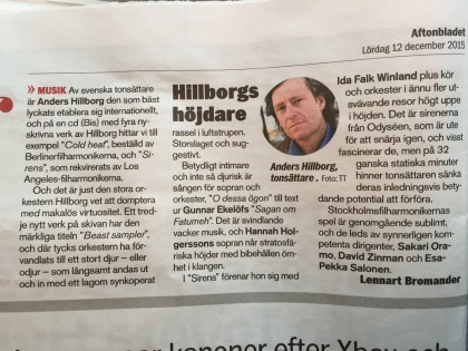 Review by Lennart Bromander, Aftonbladet, December 12th 2015