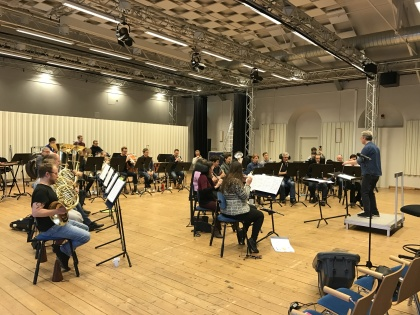 Rehearsal with Marinens Musikkår and conductor Staffan Larson