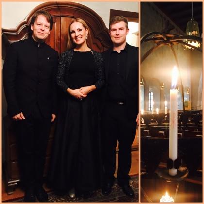 Tobias Ringborg, Hannah Holgersson and Espen Myklebust Olsen at Essinge kyrka.