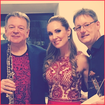 Nicholas Daniel, Hannah Holgersson and Pascal Siffert backstage at Grünewaldsalen, Stockholms Konserthus.