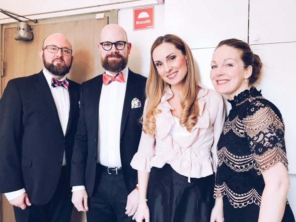 Johan Wållberg, Philip Sherman, Hannah Holgersson and Anna Zander Sand before concert at Breviks kyrka.