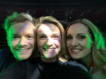Peter Johansson, Jenna Lee-James and Hannah Holgersson during soundcheck at Malmö Arena.