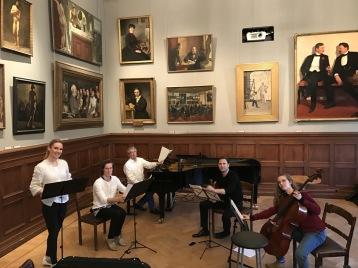 Hannah Holgersson, Magnus Holmander, Staffan Scheja, Christian Svarfvar and Hanna Dahlkvist during rehearsal at Konstakademien