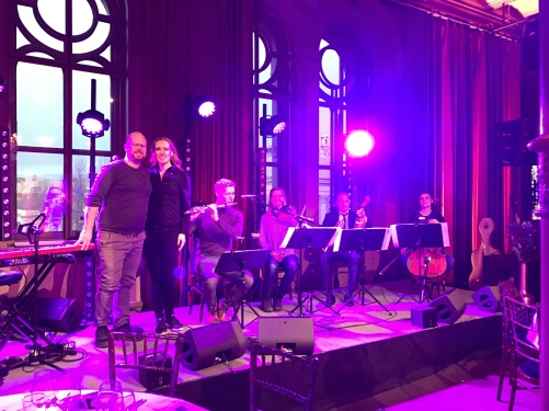 Soundcheck at venue. From the left:  Joakim Holgersson, Hannah Holgersson, Kristian Brink, Kerstin Thörn, Thomas Ringqvist and Adina Sabin.