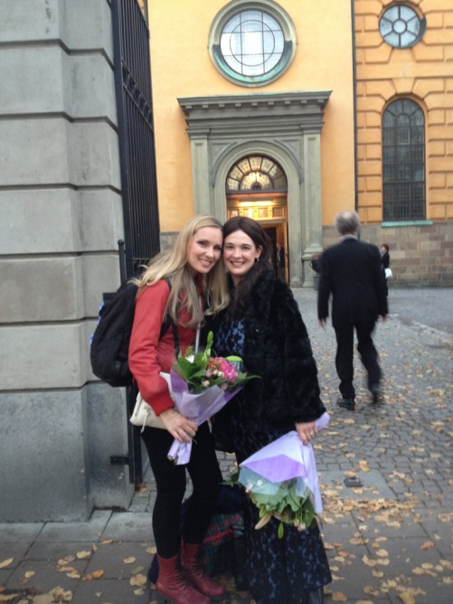 Hannah Holgersson and Marie Rosenmir with concert flowers!