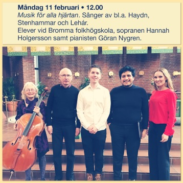 Göran Nygren and Hannah Holgersson with music students from Bromma Folkhögskola after lunch concert in Immanuelskyrkan, Stockholm.