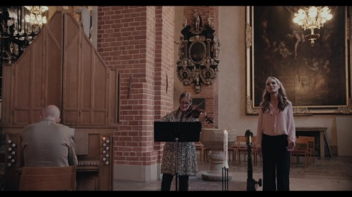 Mattias Wager, Maria Lindal and Hannah Holgersson performing in Storkyrkan, Old Town, Stockholm.