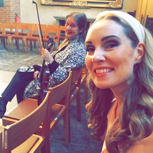 Maria Lindal and Hannah Holgersson during recording session at Storkyrkan.