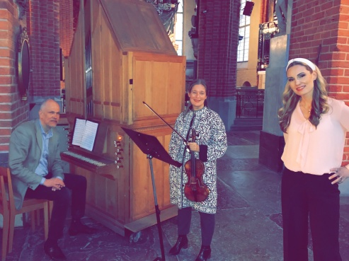 Mattias Wager, Maria Lindal and Hannah Holgersson during recording at Storkyrkan.